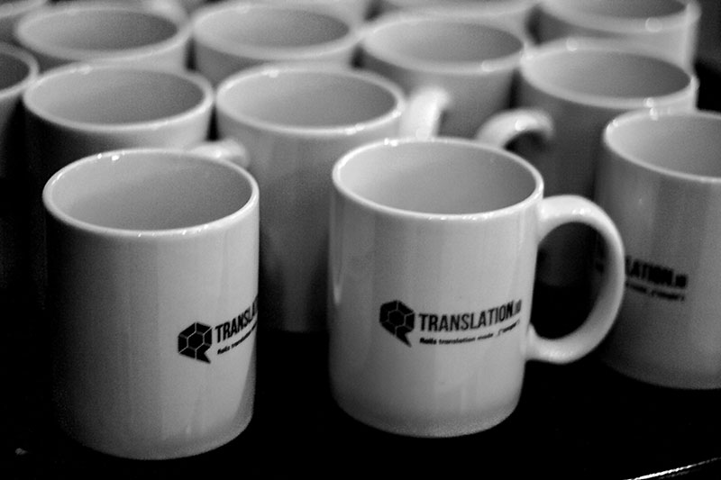 We got a lot of free mugs to distribute