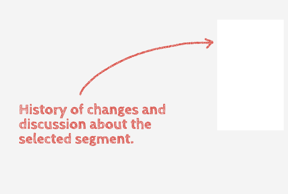 History of changes and discussion about the selected segment.