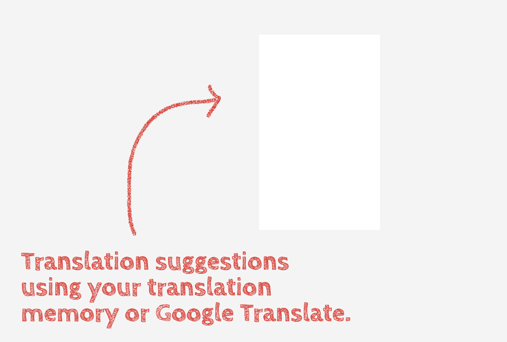 Translation suggestions using your translation memory or Google Translate.